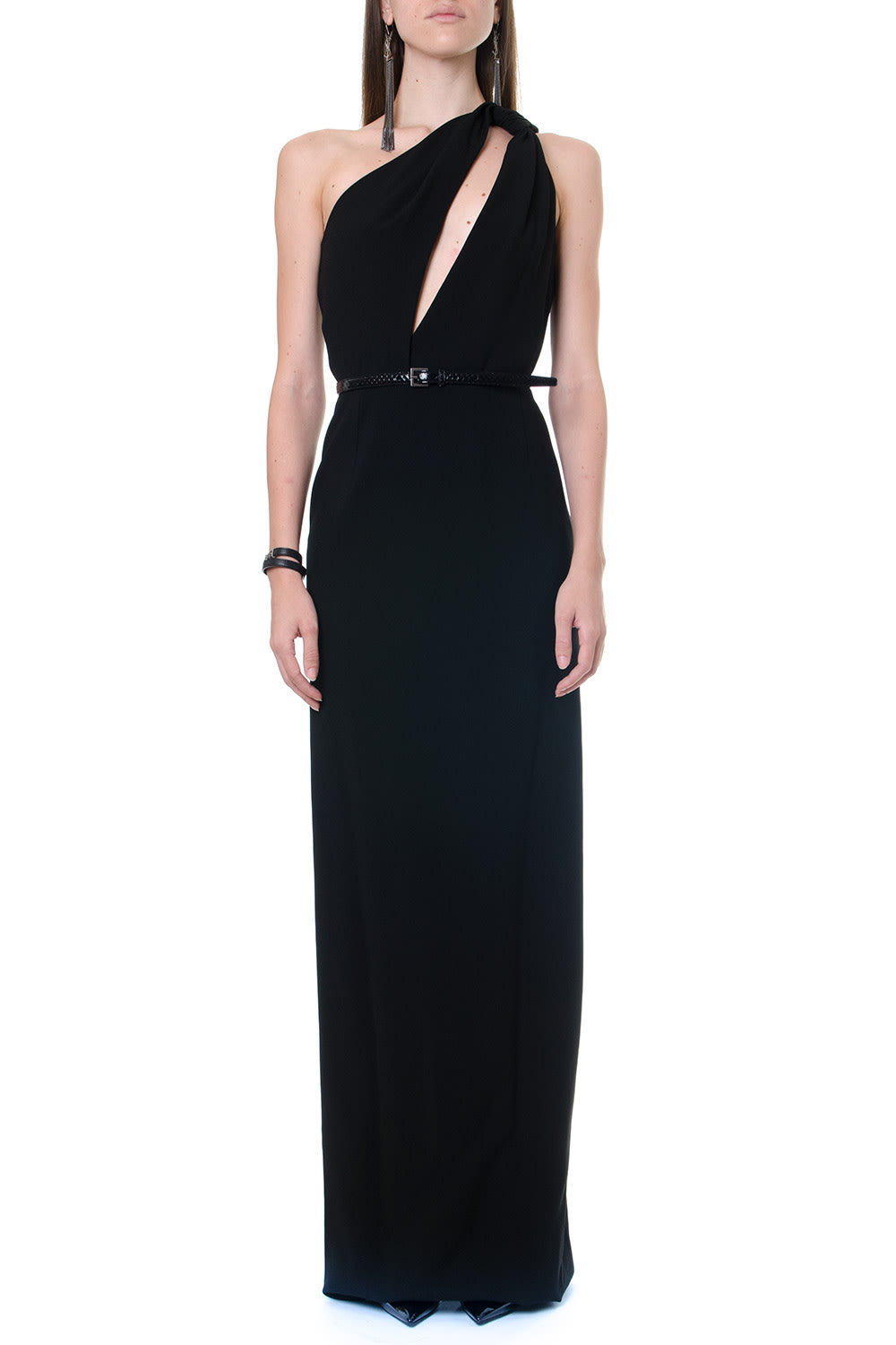 Saint Laurent Sabl?ne Shoulder Black Color Long Dress