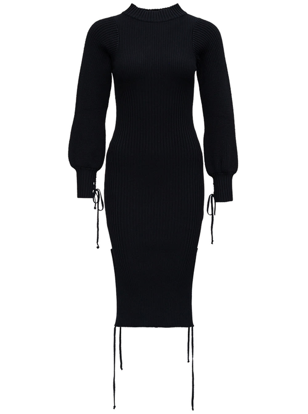 Black Wool Blend Dress With Oversized Sleeves