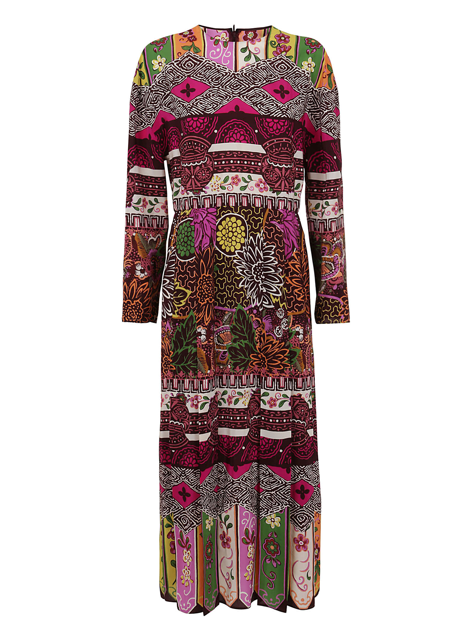 Buy Valentino Printed Crepe De Chine Dress online, shop Valentino with free shipping