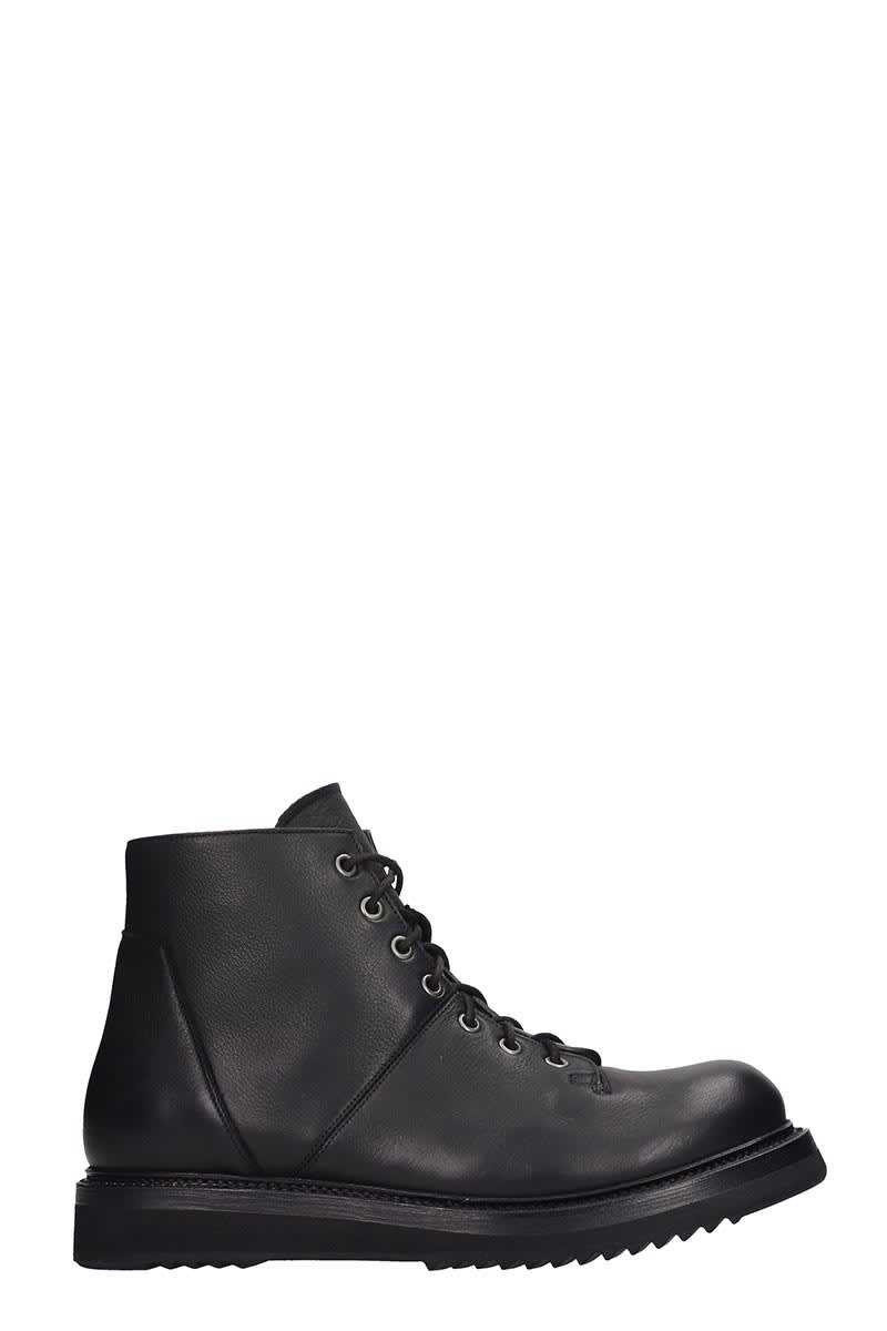 Rick Owens Monkey Boot Combat Boots In Black Leather