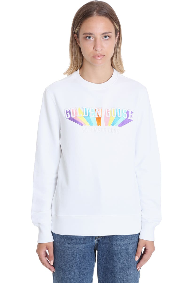 GOLDEN GOOSE ATHENA SWEATSHIRT IN WHITE COTTON