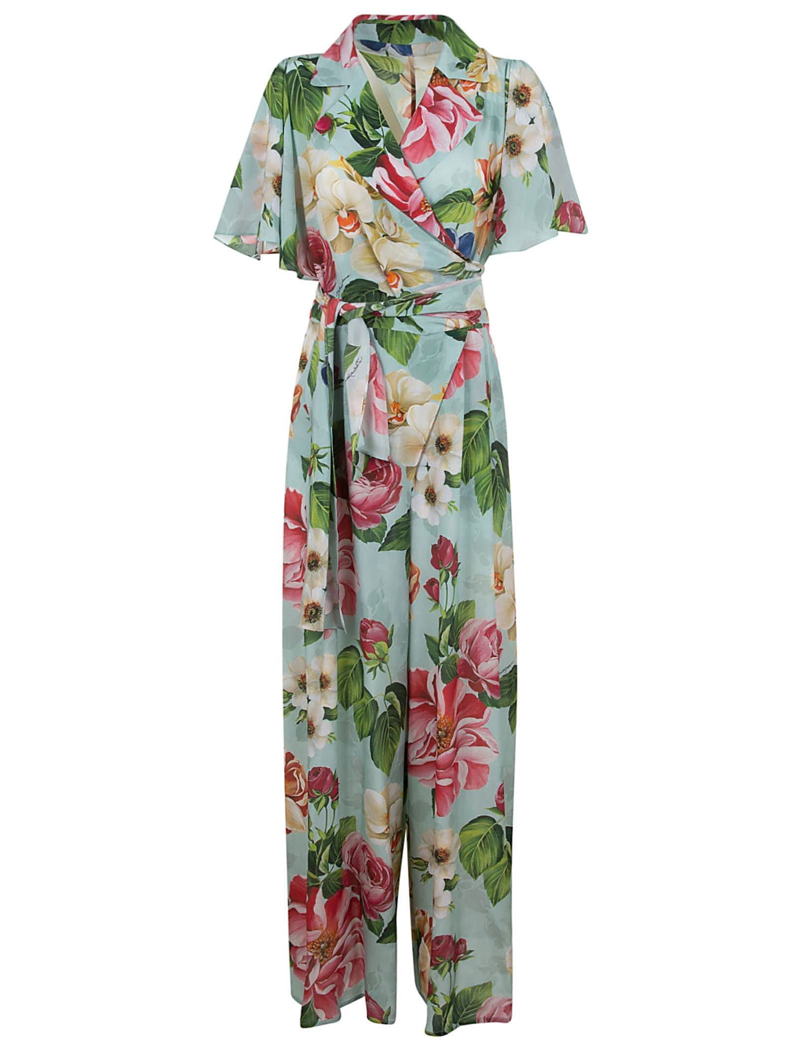 Buy Dolce & Gabbana Floral Print Belted Dress online, shop Dolce & Gabbana with free shipping