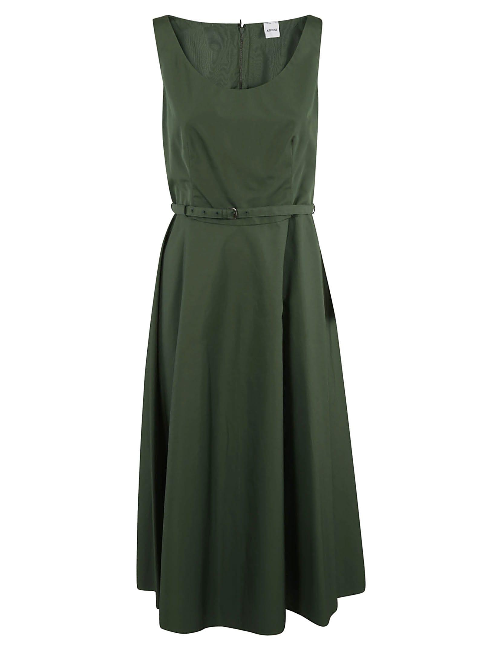 Buy Aspesi Belted Waist Sleeveless Dress online, shop Aspesi with free shipping