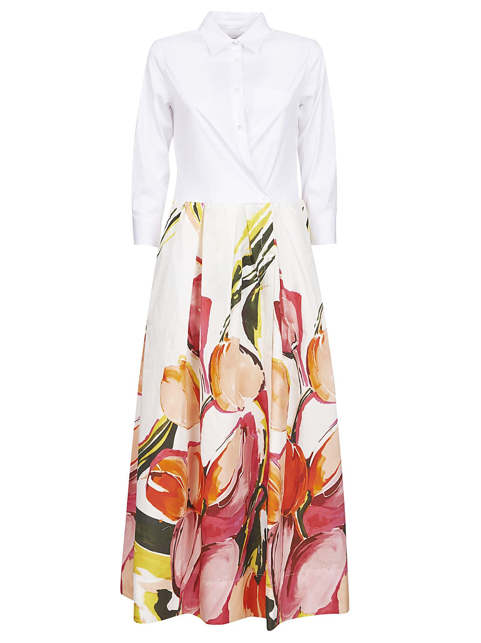 Buy Sara Roka Floral Print Pleated Shirt Dress online, shop Sara Roka with free shipping