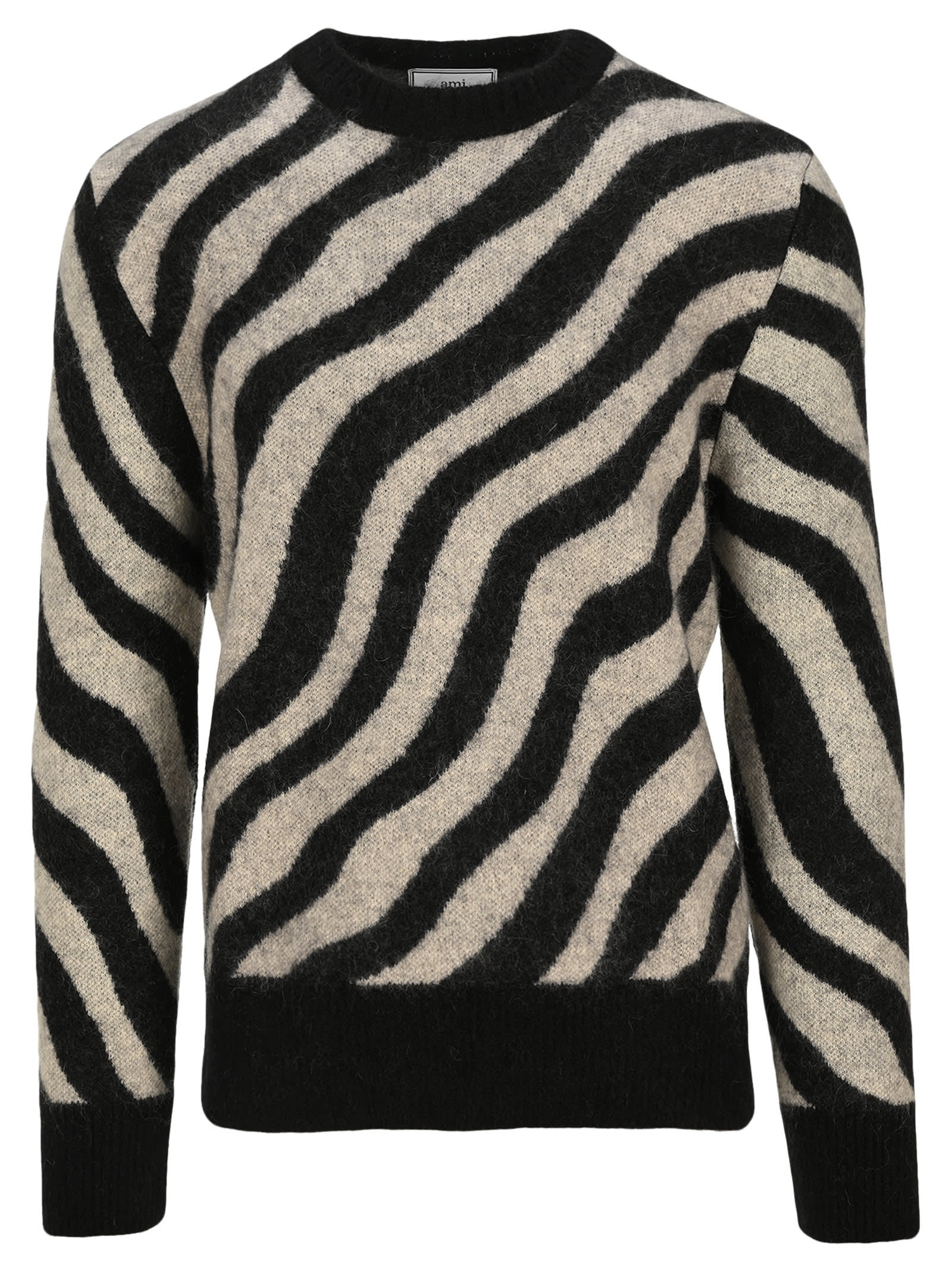 Ami Alexandre Mattiussi Sweaters AMI ZEBRA STRIPED SWEATER