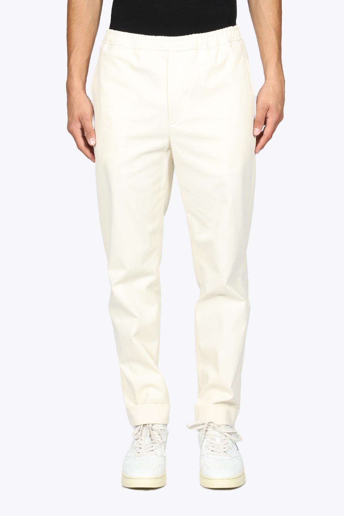 Pantalone In Cotone Panna Con Elastico In Vita