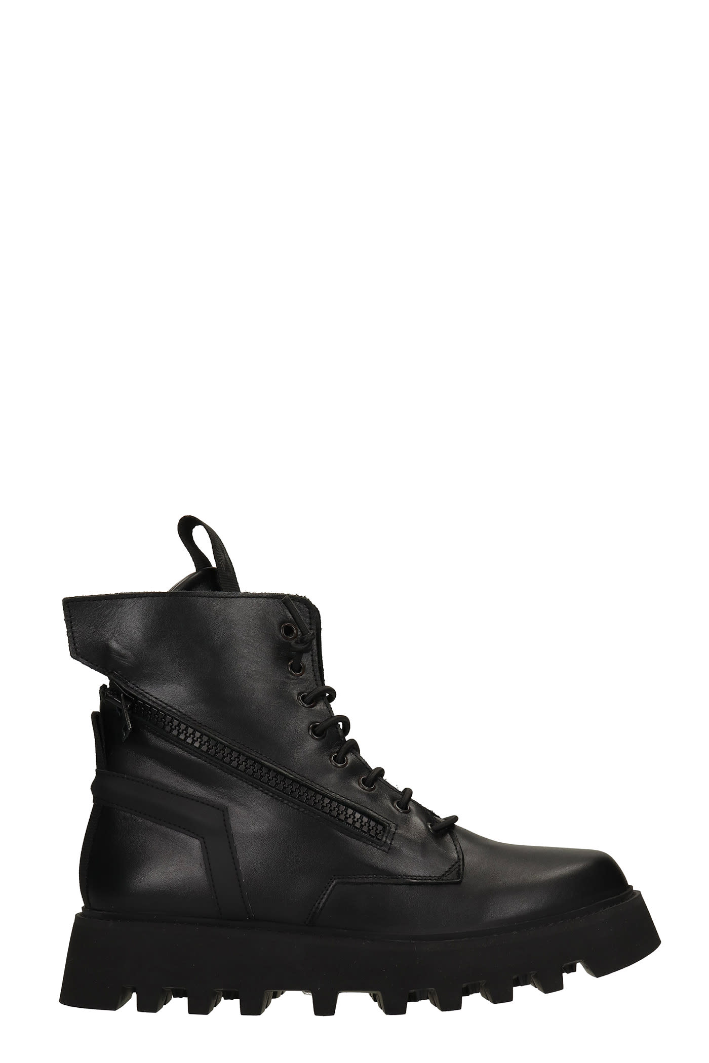 Doc Combat Boots In Black Leather