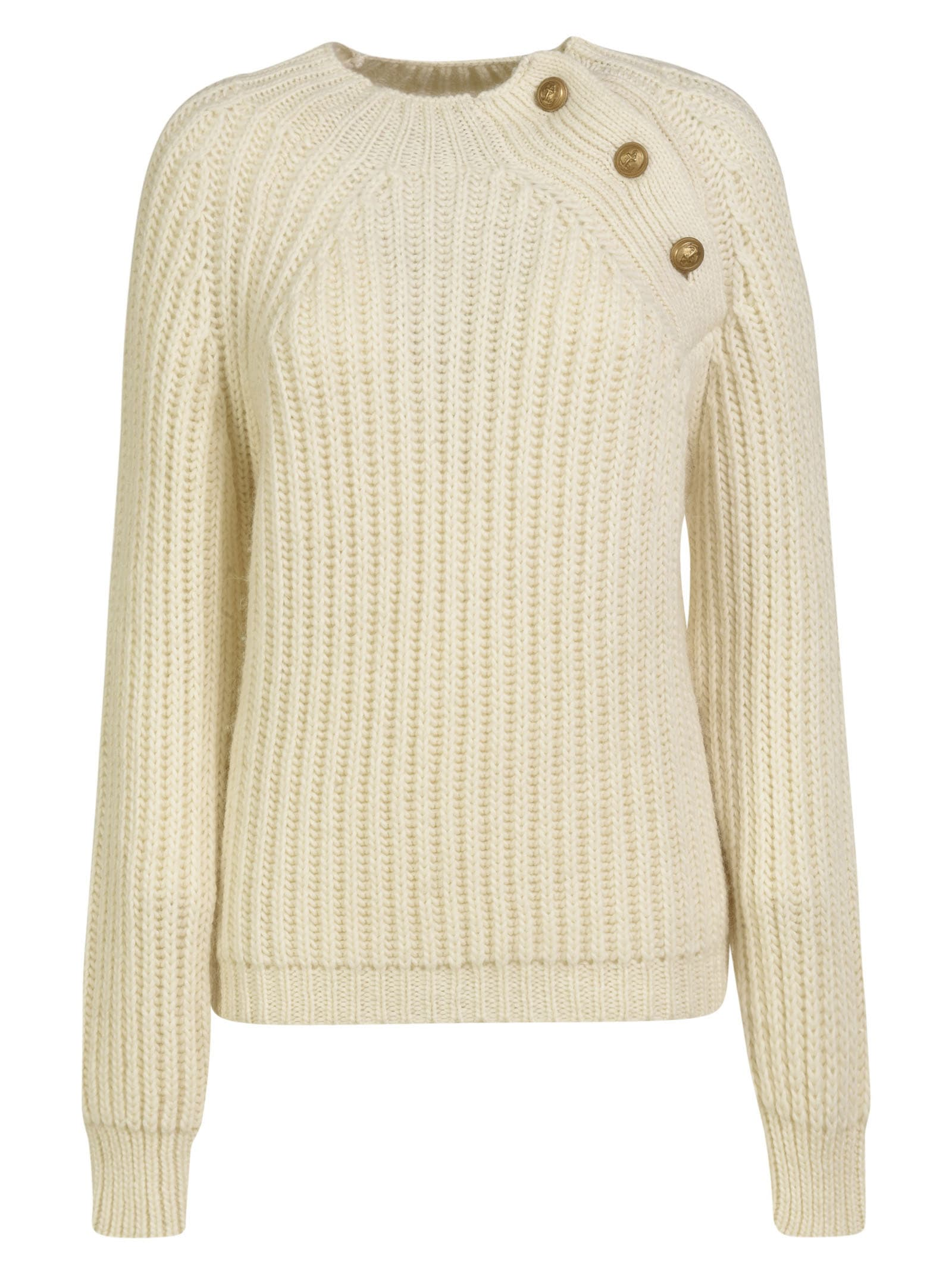 Shoulder-Button Detail Ribbed Knit Sweater