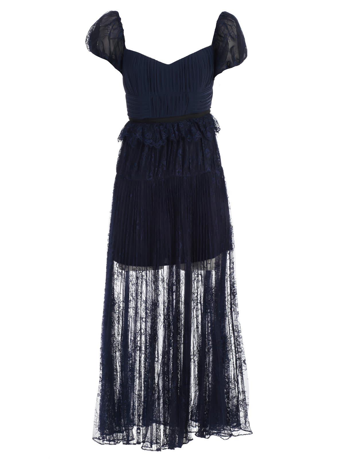 self-portrait Dress S & sv Neck Bustier W & lace