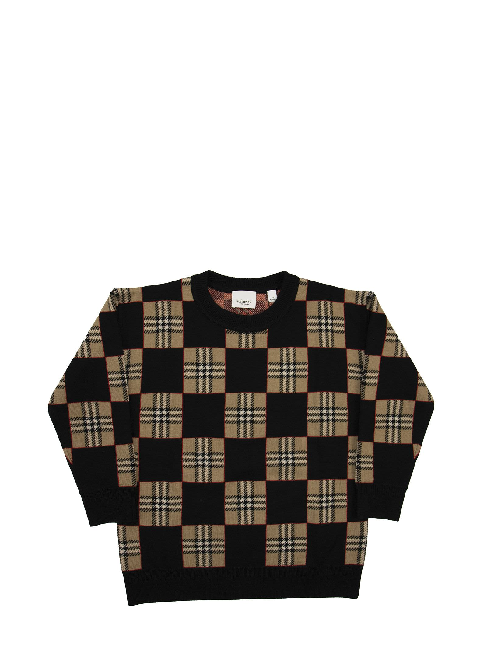 Burberry Kids' Rickman Merino Wool Jacquard Sweater In Archive Beige