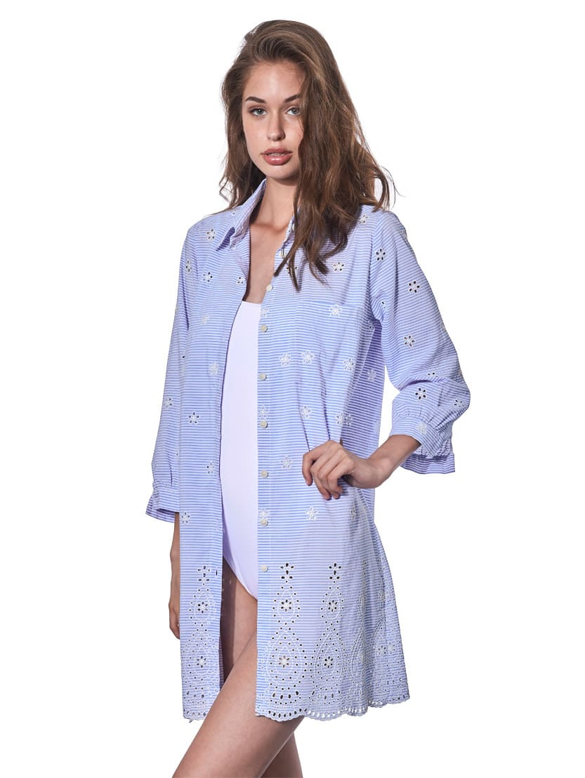 Buy Light Blue Striped Embroidered Short Dress online, shop MC2 Saint Barth with free shipping