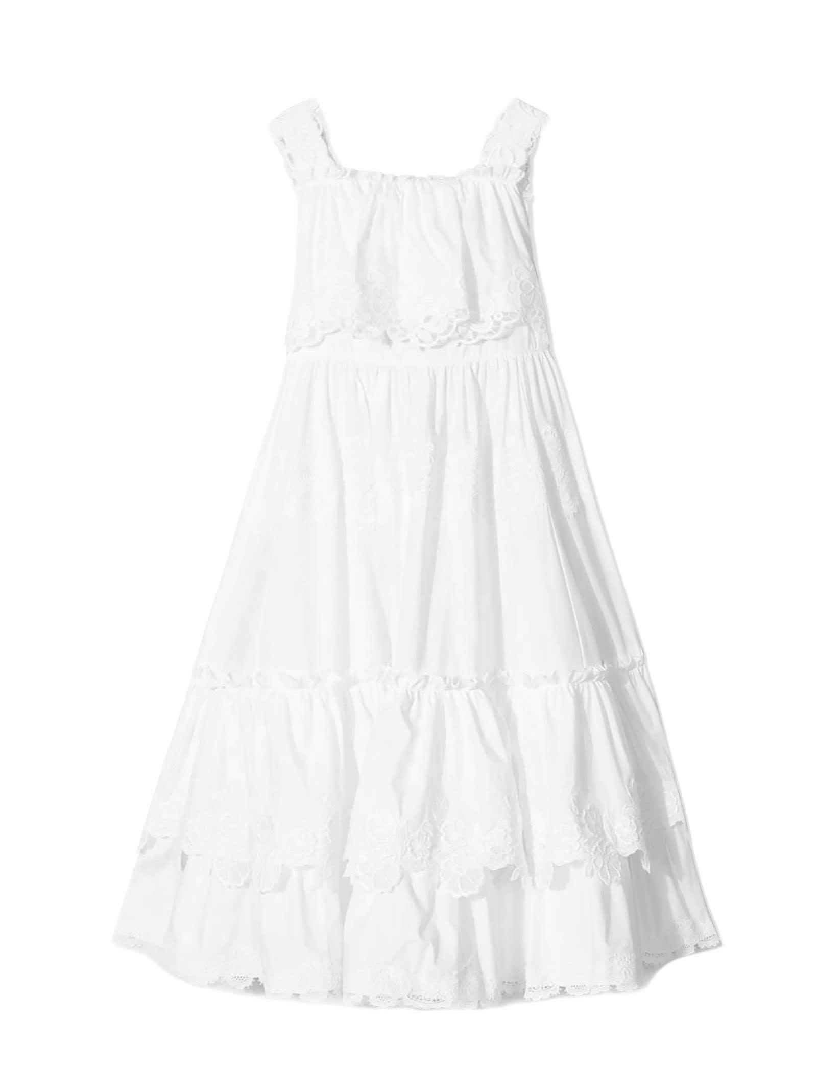 Dolce & Gabbana White Cotton Ruffled Dress