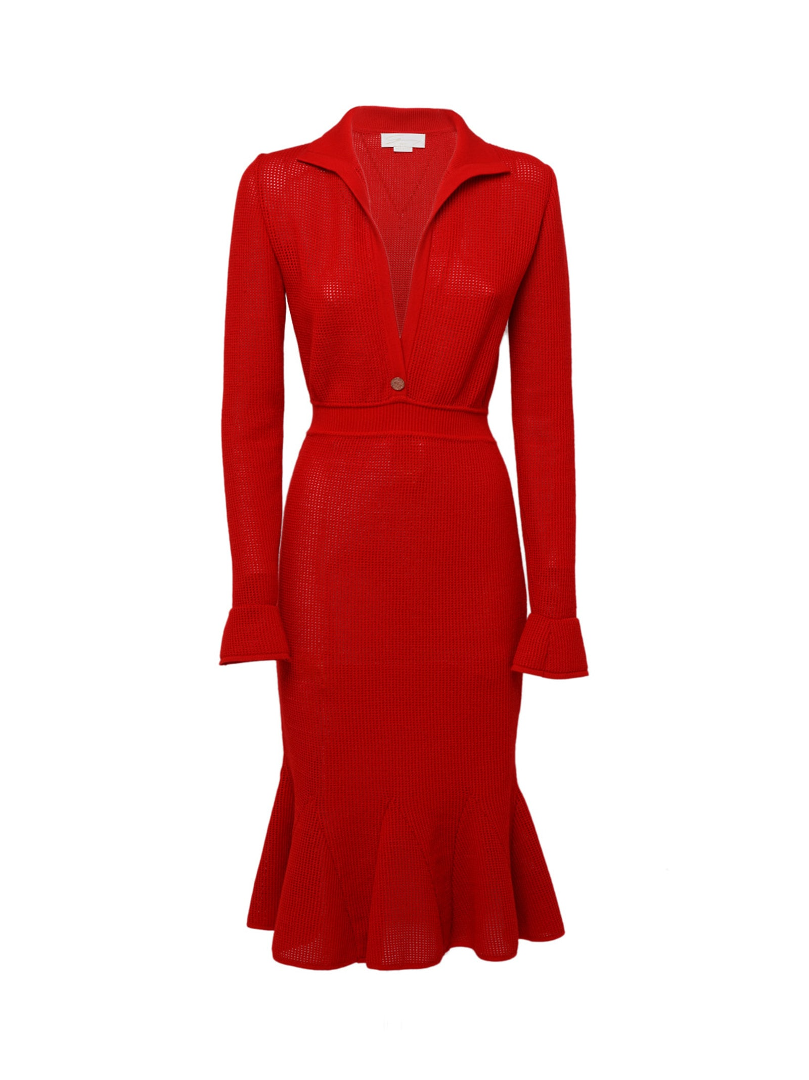 Red Stretch-knit Midi Dress