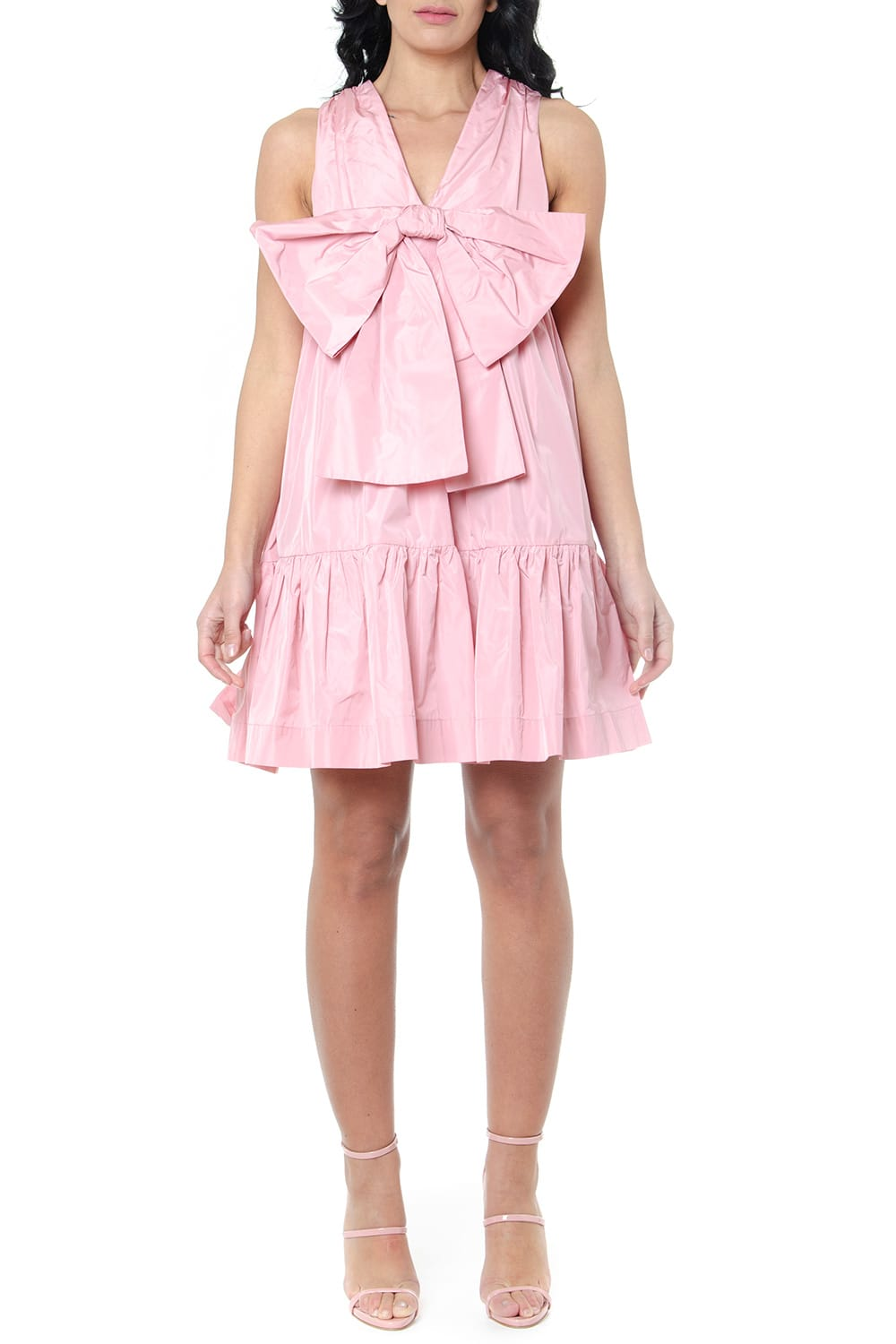 Buy MSGM Pink Ruffled Bow Dress online, shop MSGM with free shipping