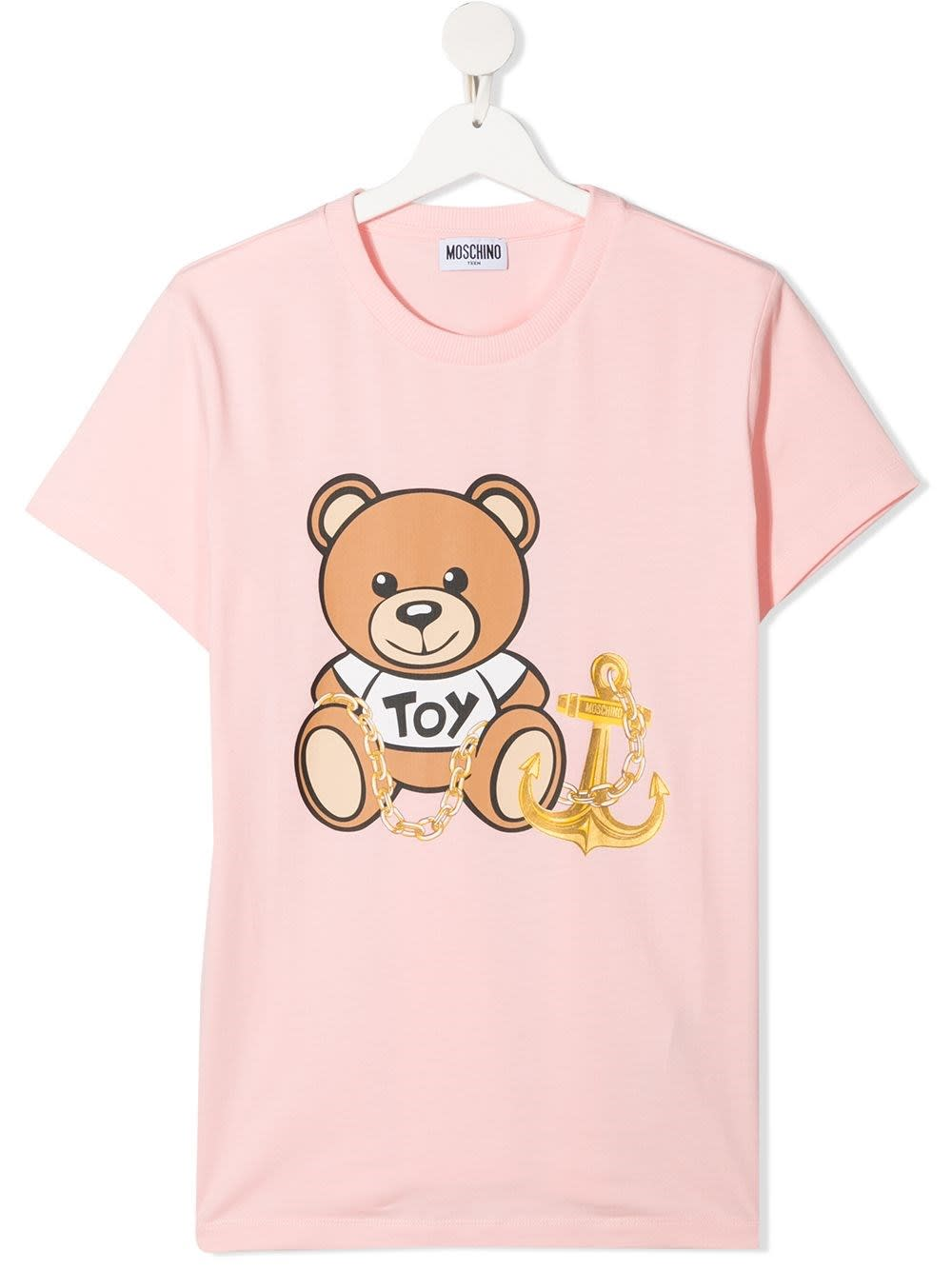Moschino PINK T-SHIRT WITH TEDDY BEAR PRINT