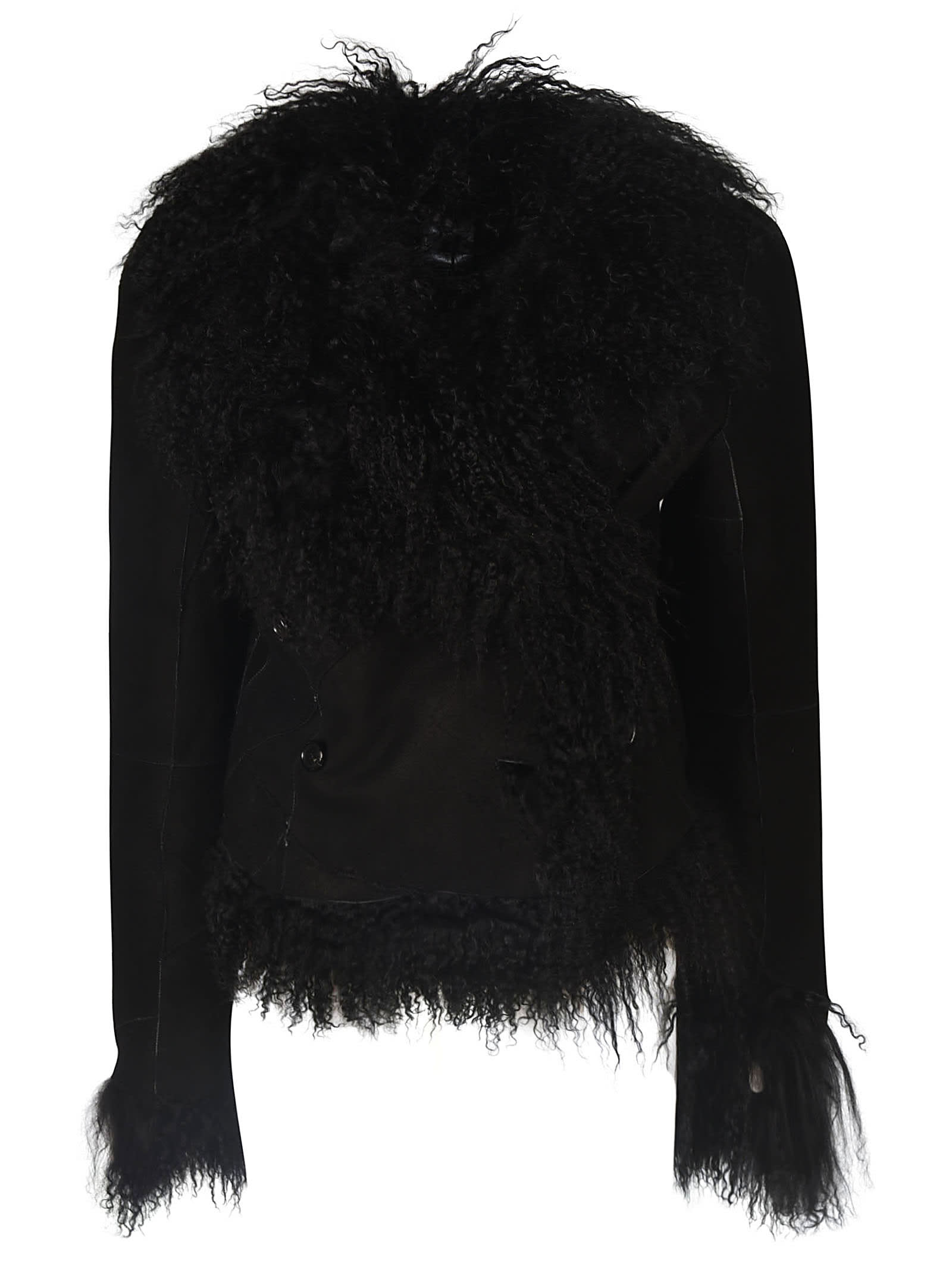 Ann Demeulemeester Furry Detail Long Sleeved Jacket