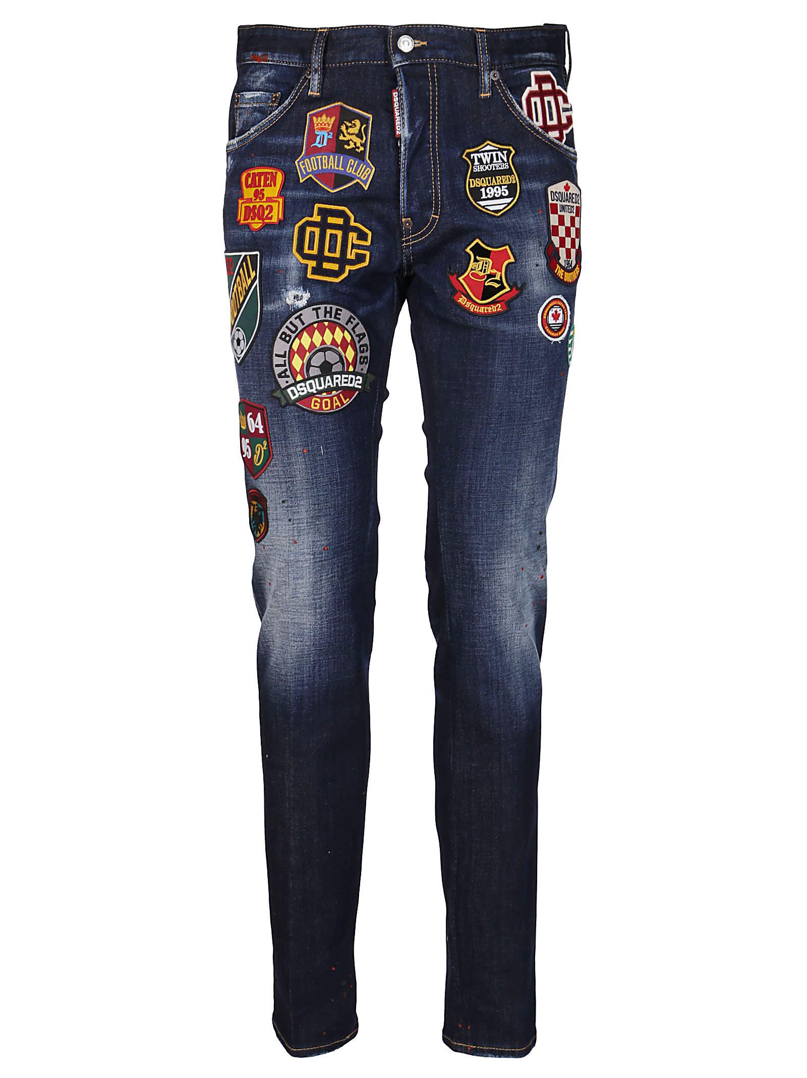 Blue Elasticated Cotton Jeans