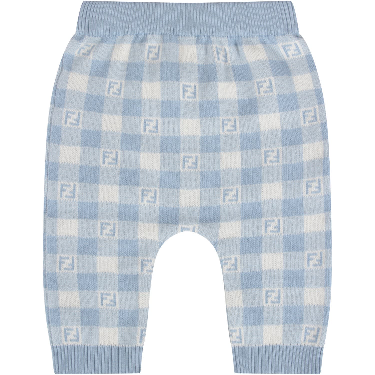 Fendi LIGHT BLUE AND IVORY BABYBOY PANT WITH DOUBLE FF