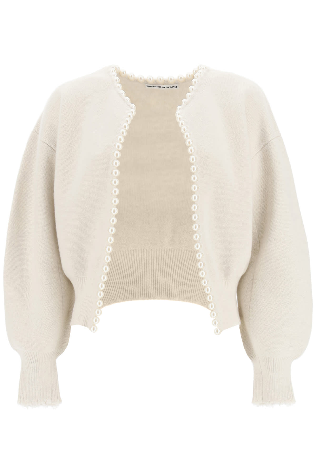 Alexander Wang CROPPED CARDIGAN WITH PEARLS