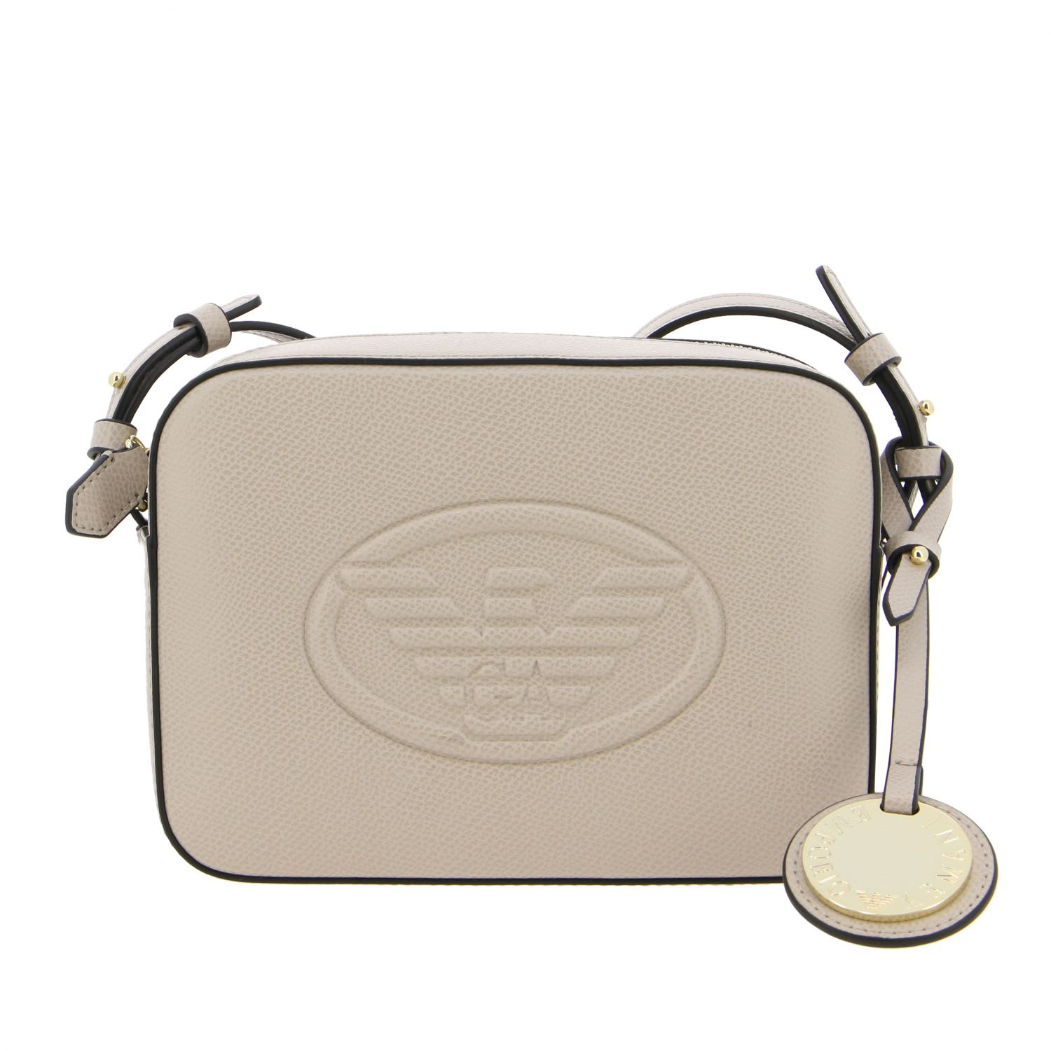 Emporio Armani Shoulder Bag In Synthetic Leather With Embossed Logo In Dove Grey
