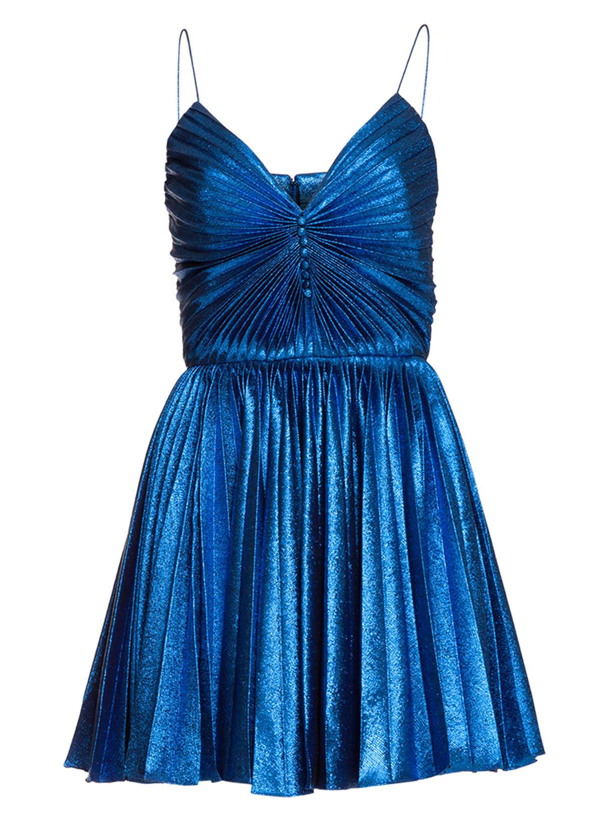 Saint Laurent Pleated Dress In Lamé Silk