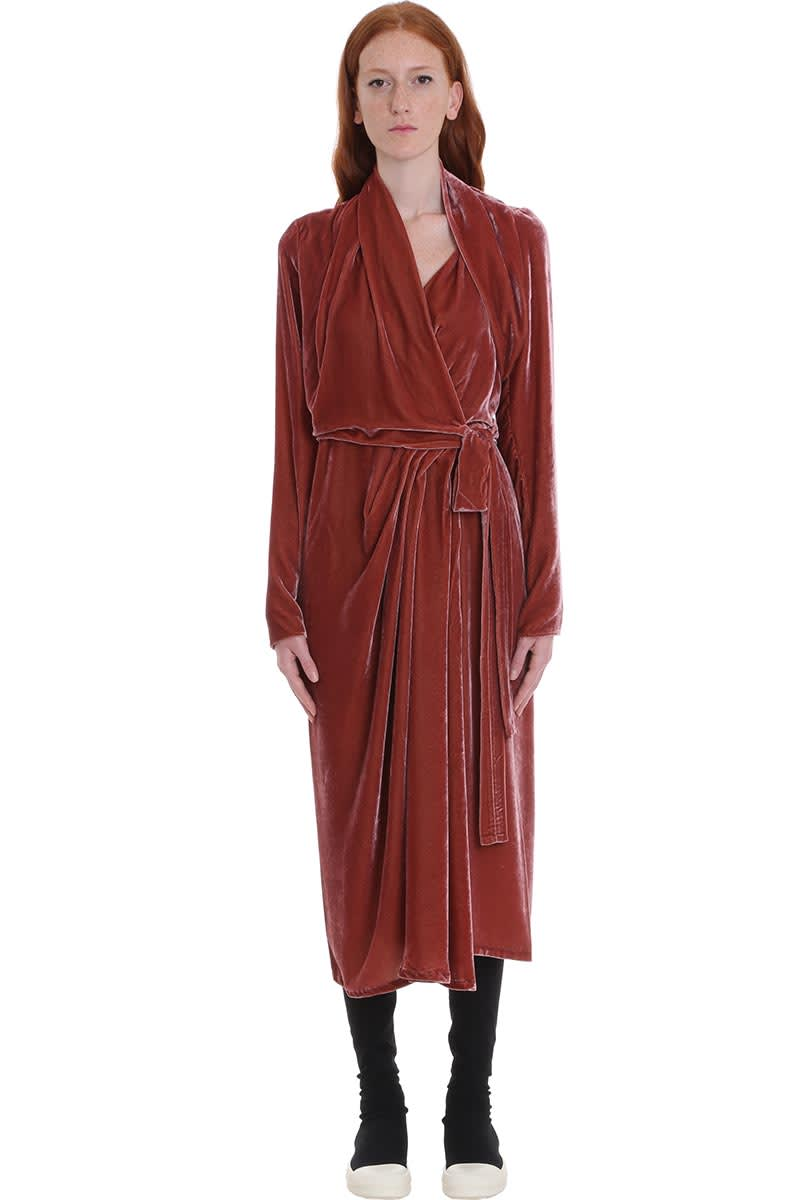 Rick Owens Wrap Ls Dress Dress In Rose-pink Velvet