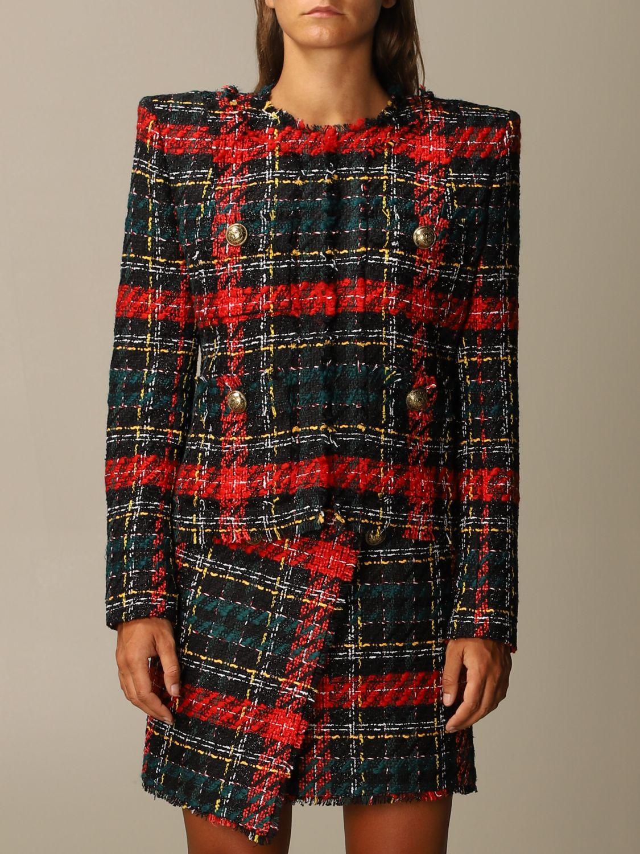 Balmain Blazer Balmain Tartan Tweed Jacket With Shoulder Pads