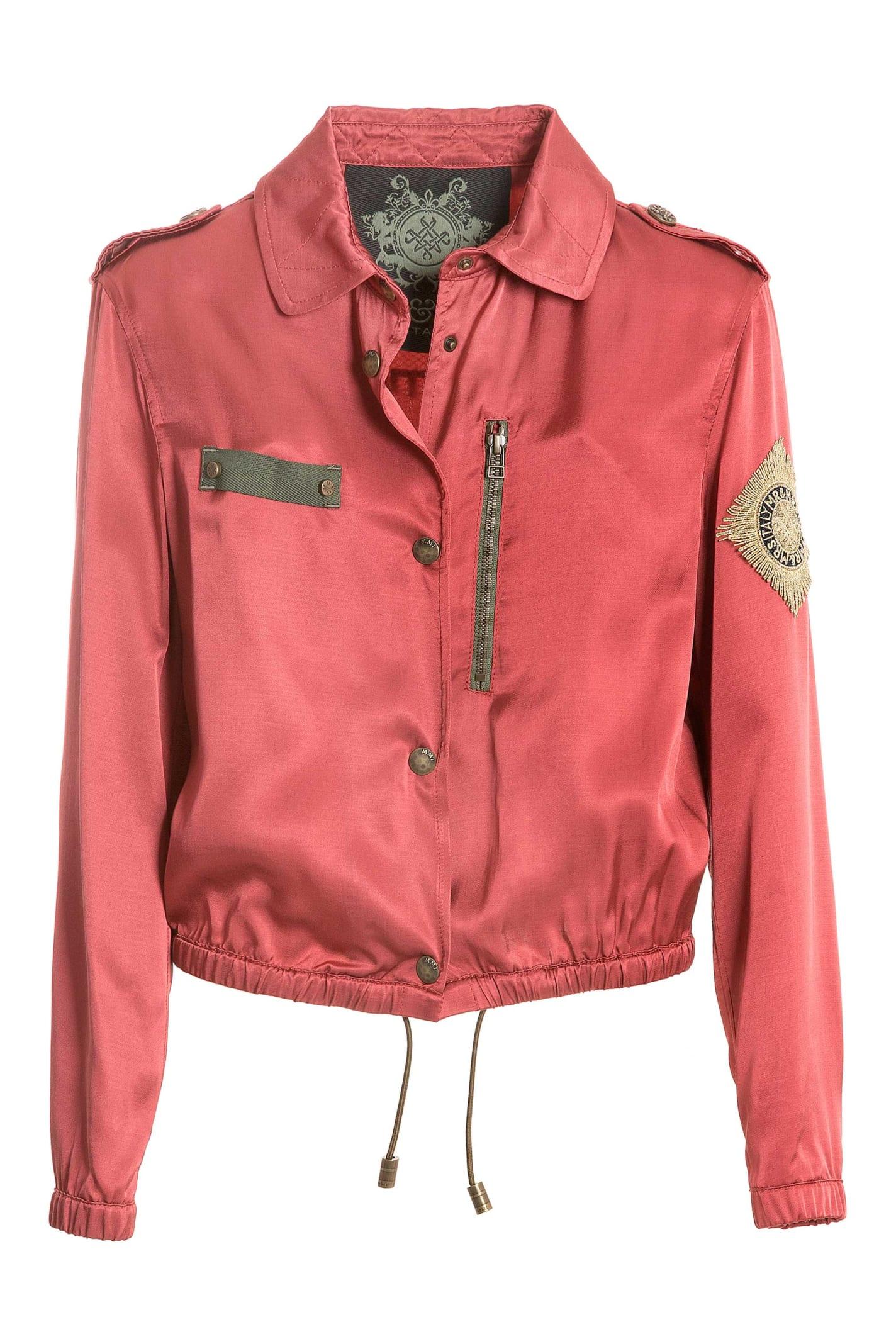 Embroidery Fluide Satin Viscose Mini Field Jacket