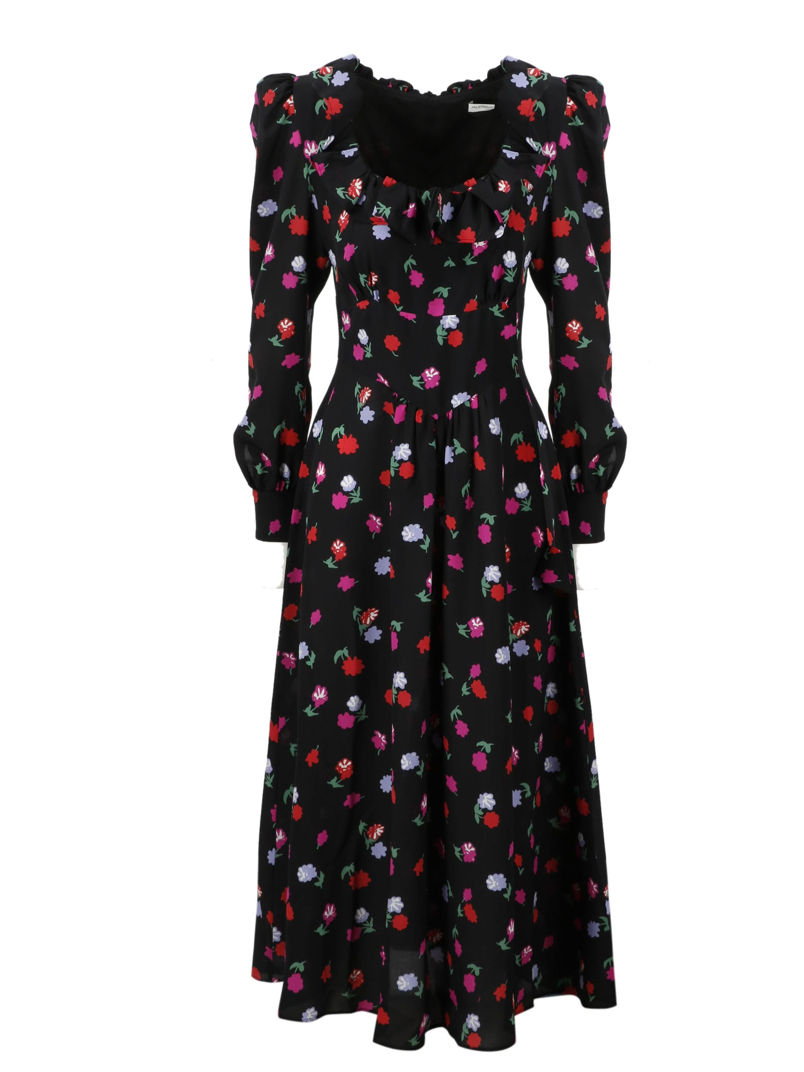 Buy Alessandra Rich Printed Silk Midi Dress online, shop Alessandra Rich with free shipping