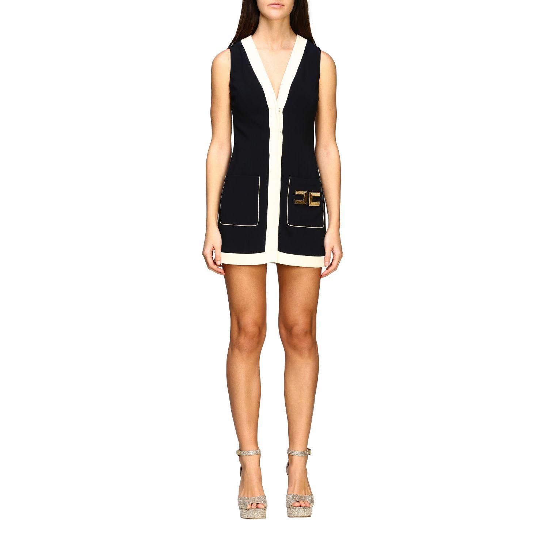 Buy Elisabetta Franchi Dress Elisabetta Franchi Sleeveless Dress With Big Logo online, shop Elisabetta Franchi Celyn B. with free shipping