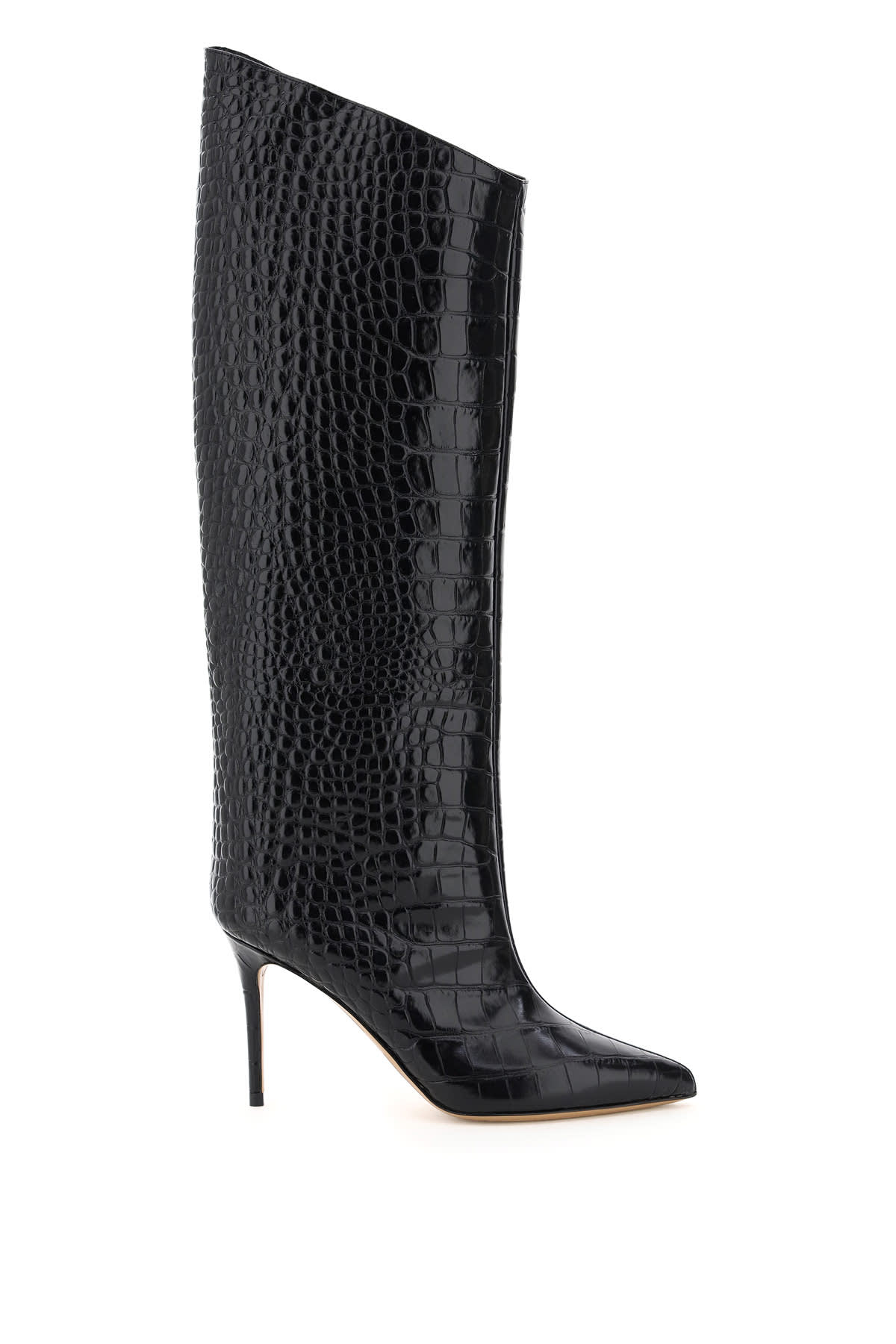 Alexandre Vauthier ALEX 90 CROC EMBOSSED LEATHER BOOTS