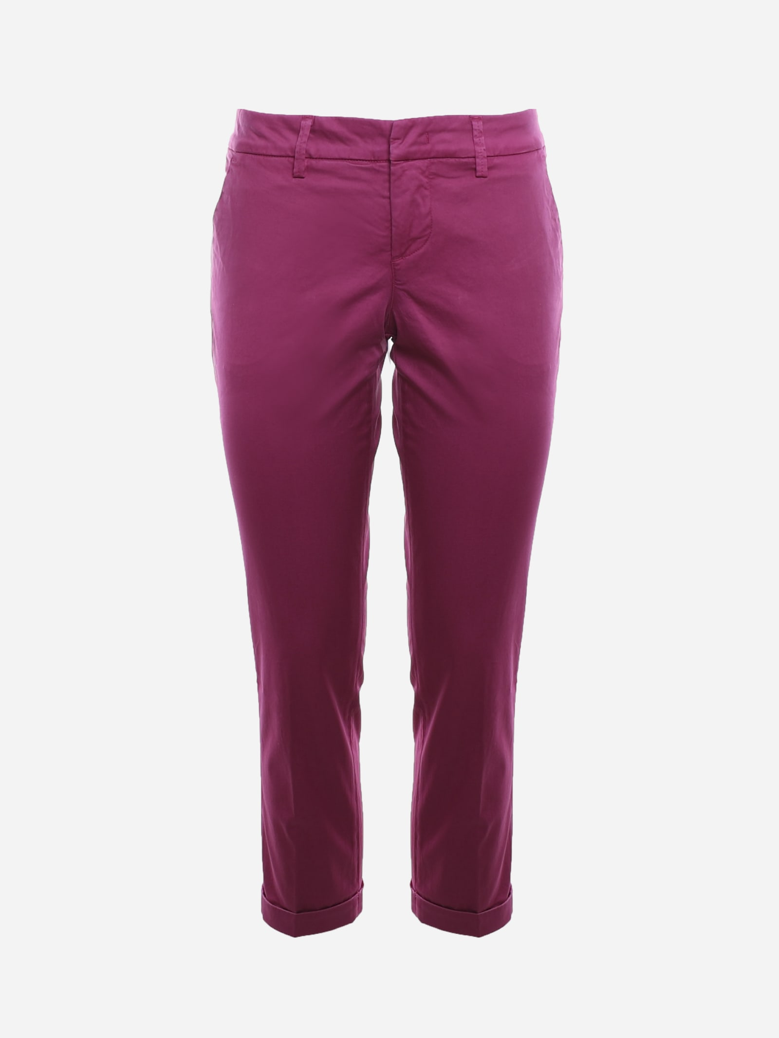 Fay Chino Trousers In Stretch Cotton In Fuxia