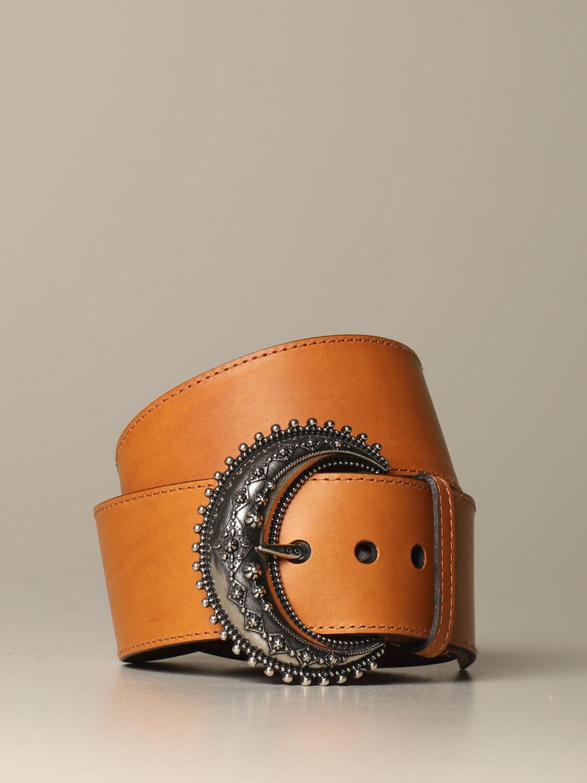 Etro Belt Etro Leather Belt With Half Moon Buckle