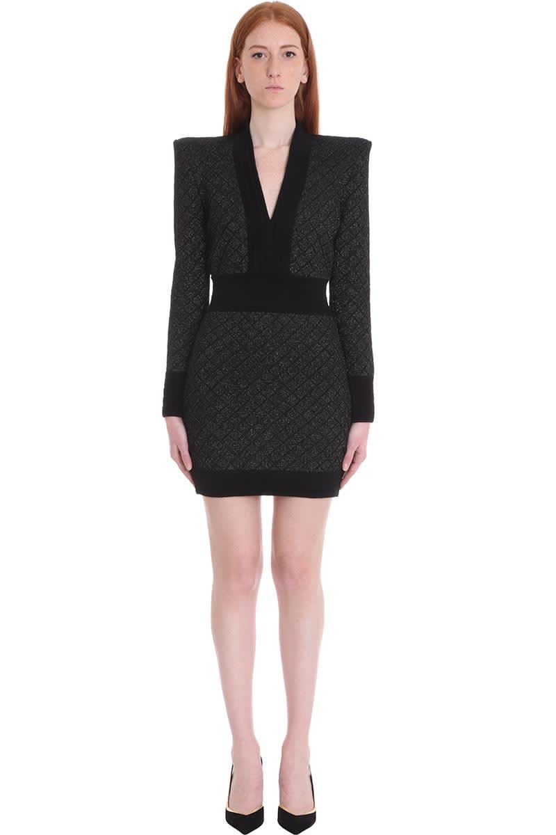 Balmain Dress In Black Polyamide
