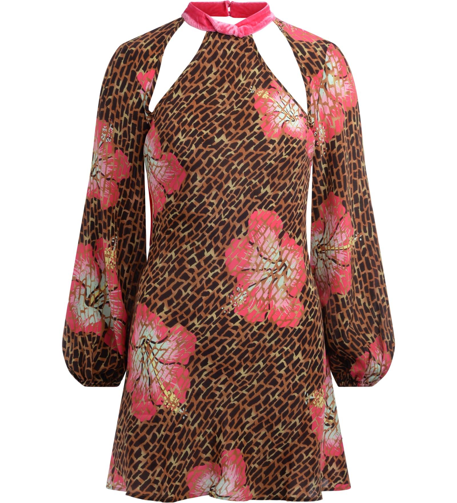 Buy Ralia Mini Dress Model Dalia In Hawaii Giraffe Print With Fuchsia Velvet Inserts online, shop RIXO with free shipping