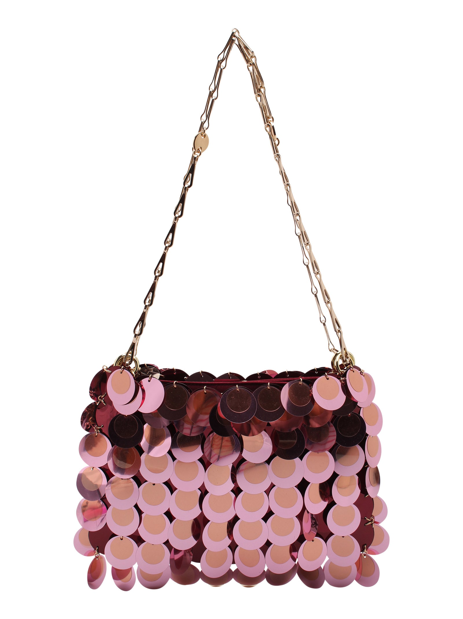Paco Rabanne 1969 Plastic Shoulder Bags In Champagne / Pink