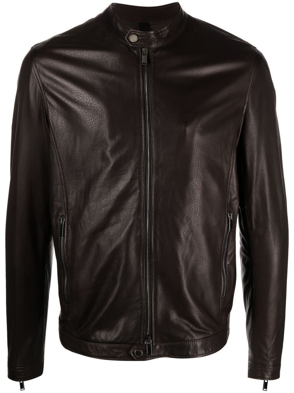 Tagliatore STANLEY JACKET IN BROWN LEATHER