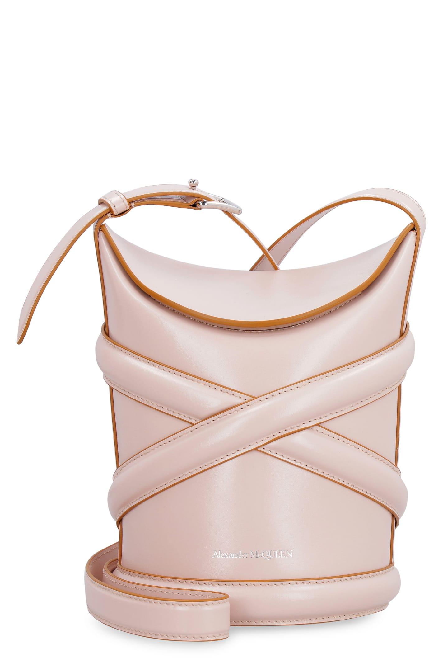 Alexander Mcqueen Leather Bucket Bag In Pink