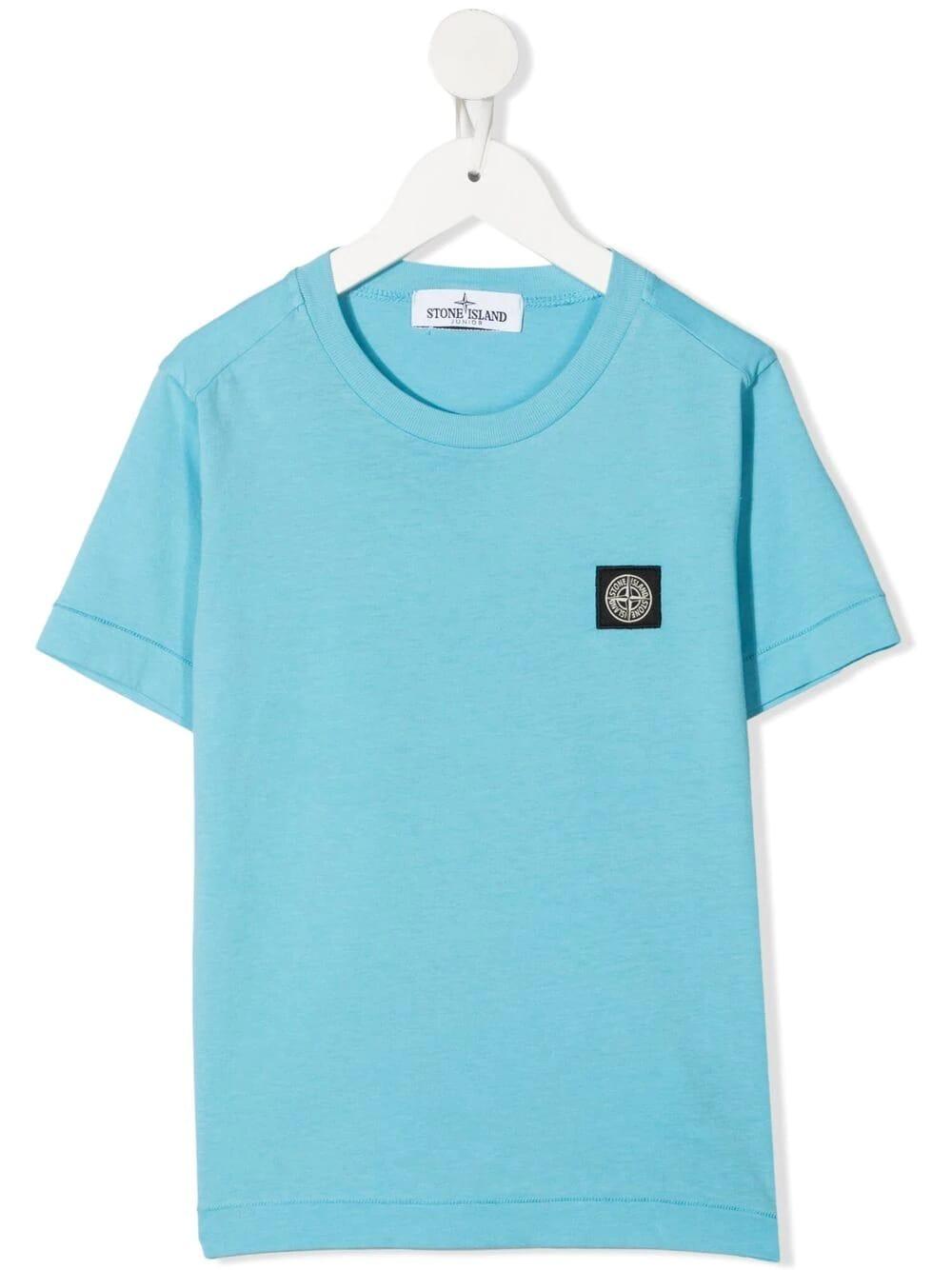 Stone Island Junior Cottons LIGHT BLUE COTTON LOGO PATCH CREW-NECK T-SHIRT