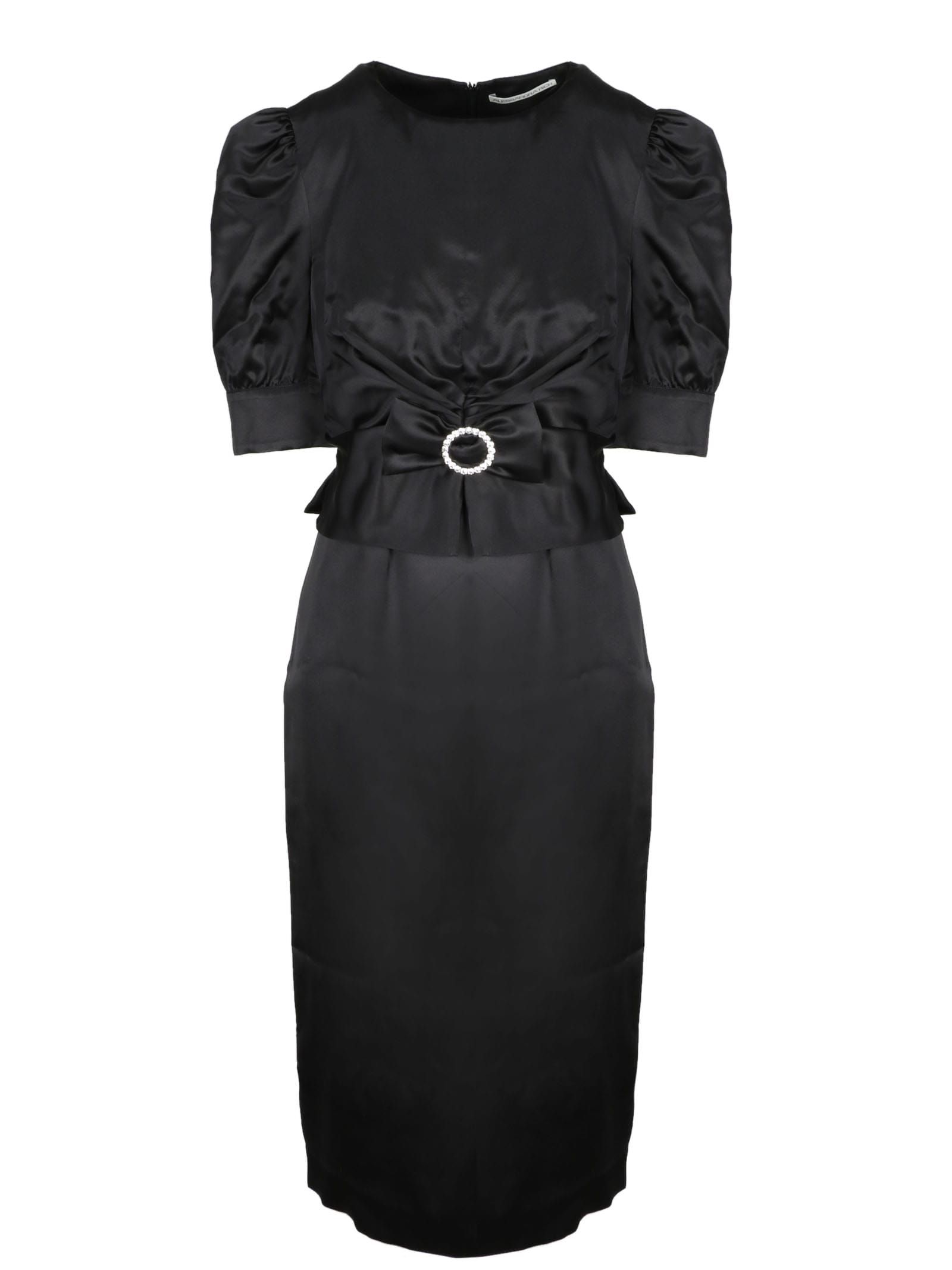 Buy Alessandra Rich Satin Dress With Crystal Buckle online, shop Alessandra Rich with free shipping