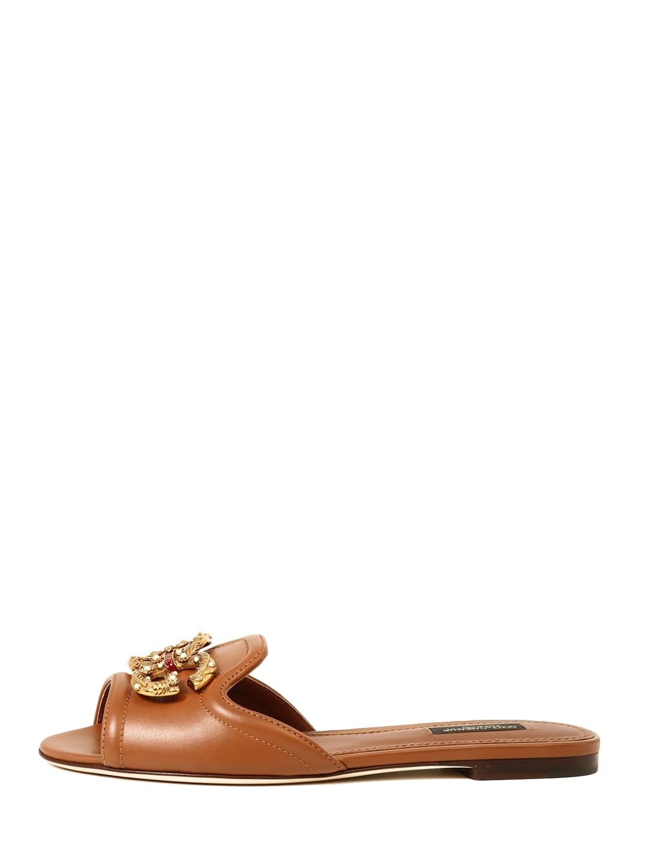 Dolce & Gabbana Leathers SLIDE SANDAL DG LOGO
