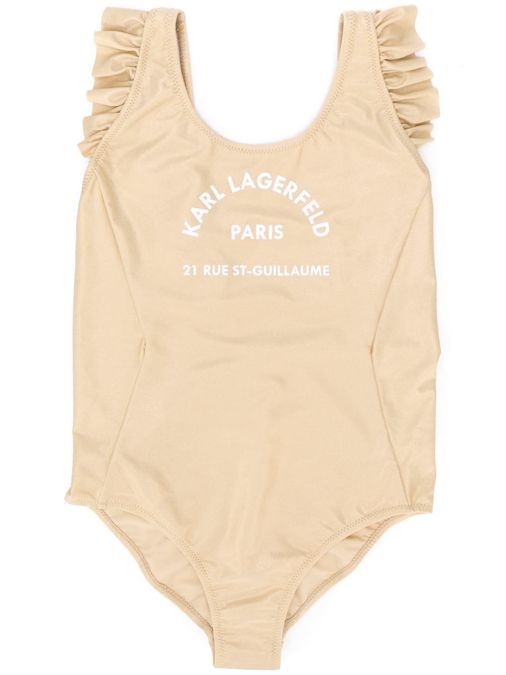 Buy Karl Lagerfeld Kids Address Print Swimsuit online, shop Karl Lagerfeld Kids with free shipping