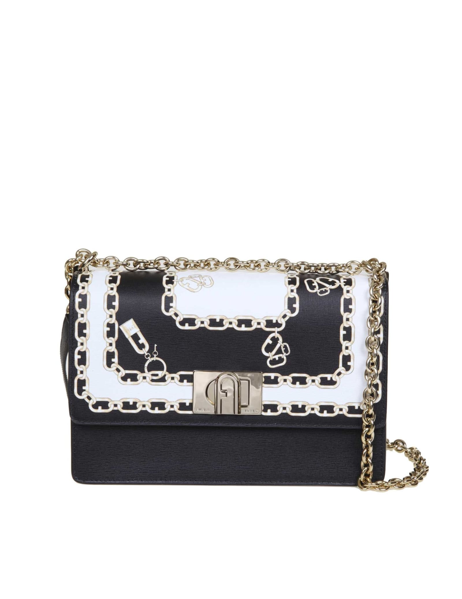 Furla 1927 S Crossbody Bag In Leather With Print