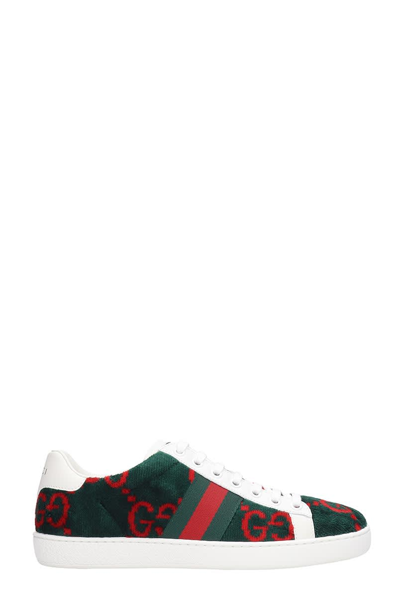 Gucci Ace In Gg Sneakers In Green Cotton