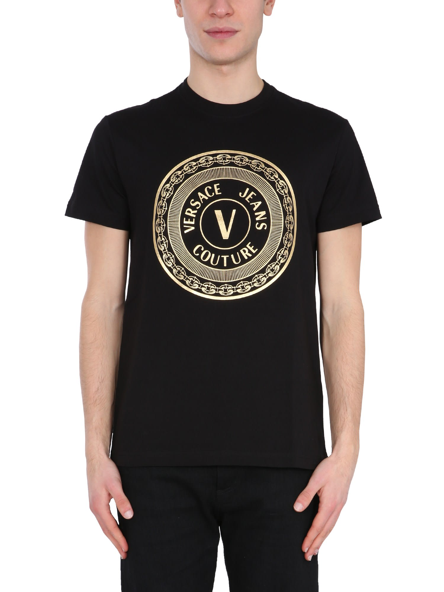 Versace Jeans Couture T-shirts T-SHIRT WITH V EMBLEME LOGO