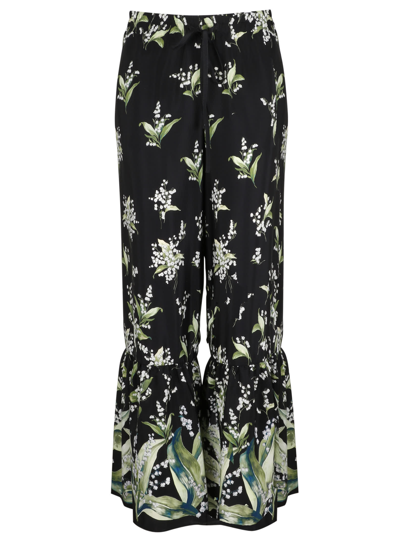 Red Valentino Silks PRINTED SILK TROUSERS