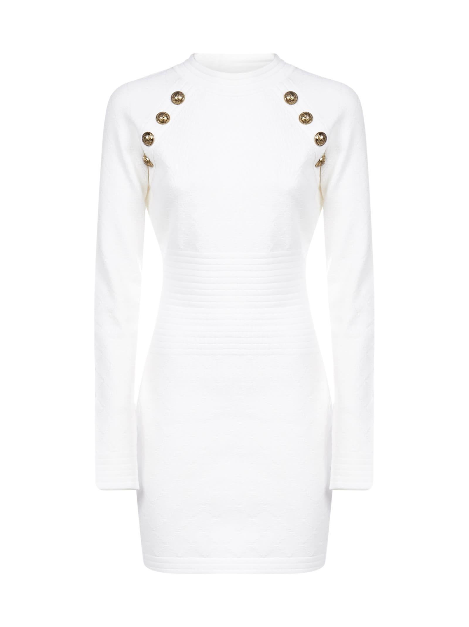 Buy Balmain Diamond-motif Stretch Knit Mini Dress online, shop Balmain with free shipping