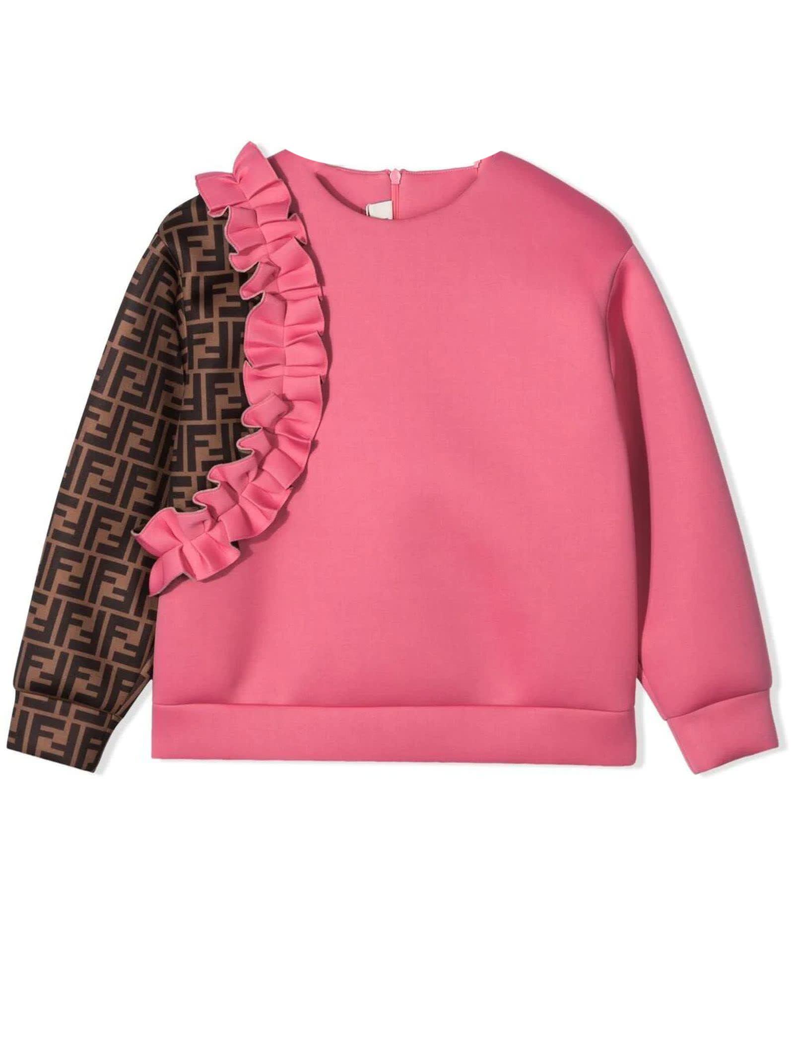 Fendi Sweatshirts PINK AND BROWN SWEATSHIRT