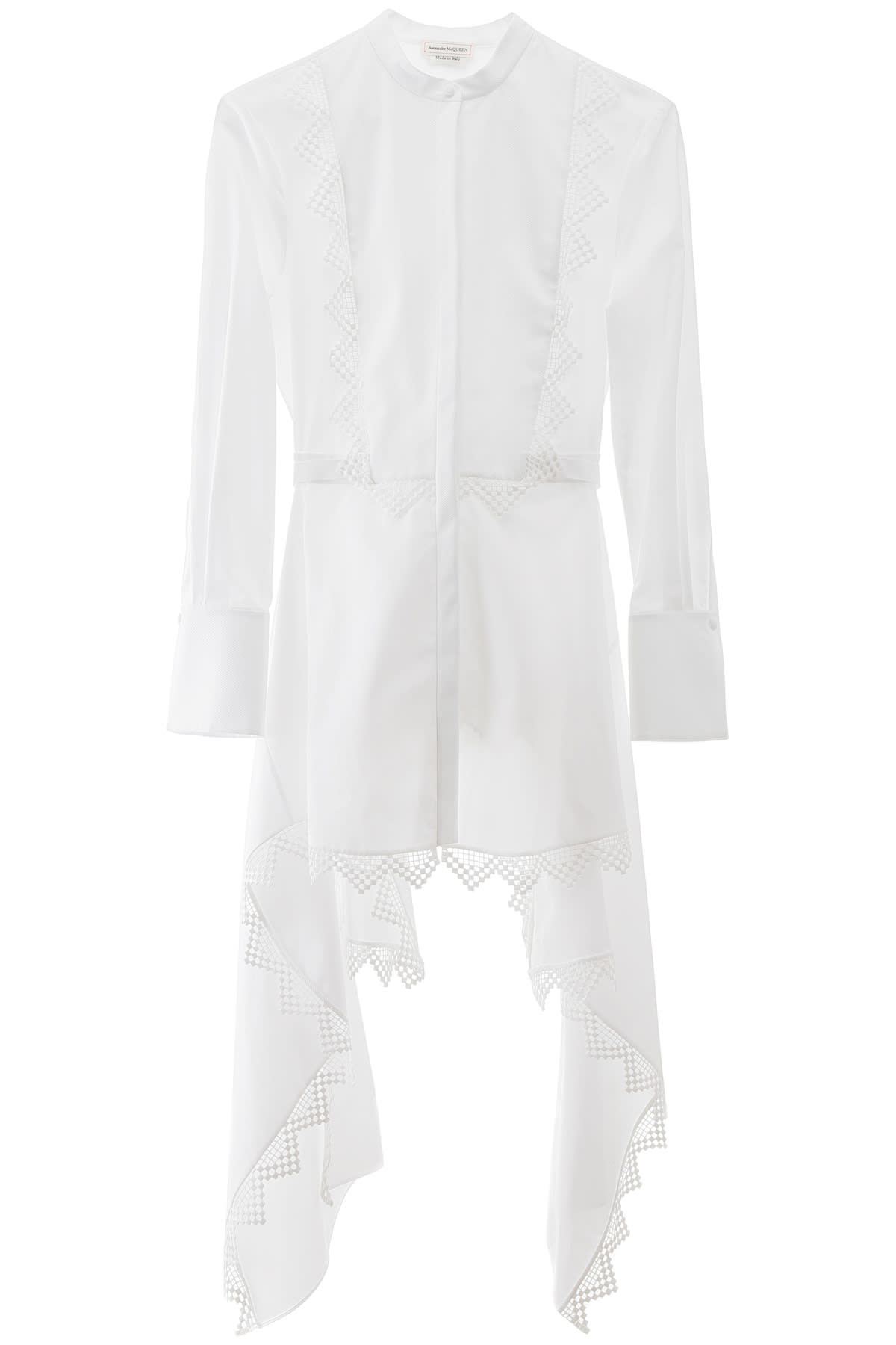 Alexander McQueen Asymmetrical Shirt With Lace Details