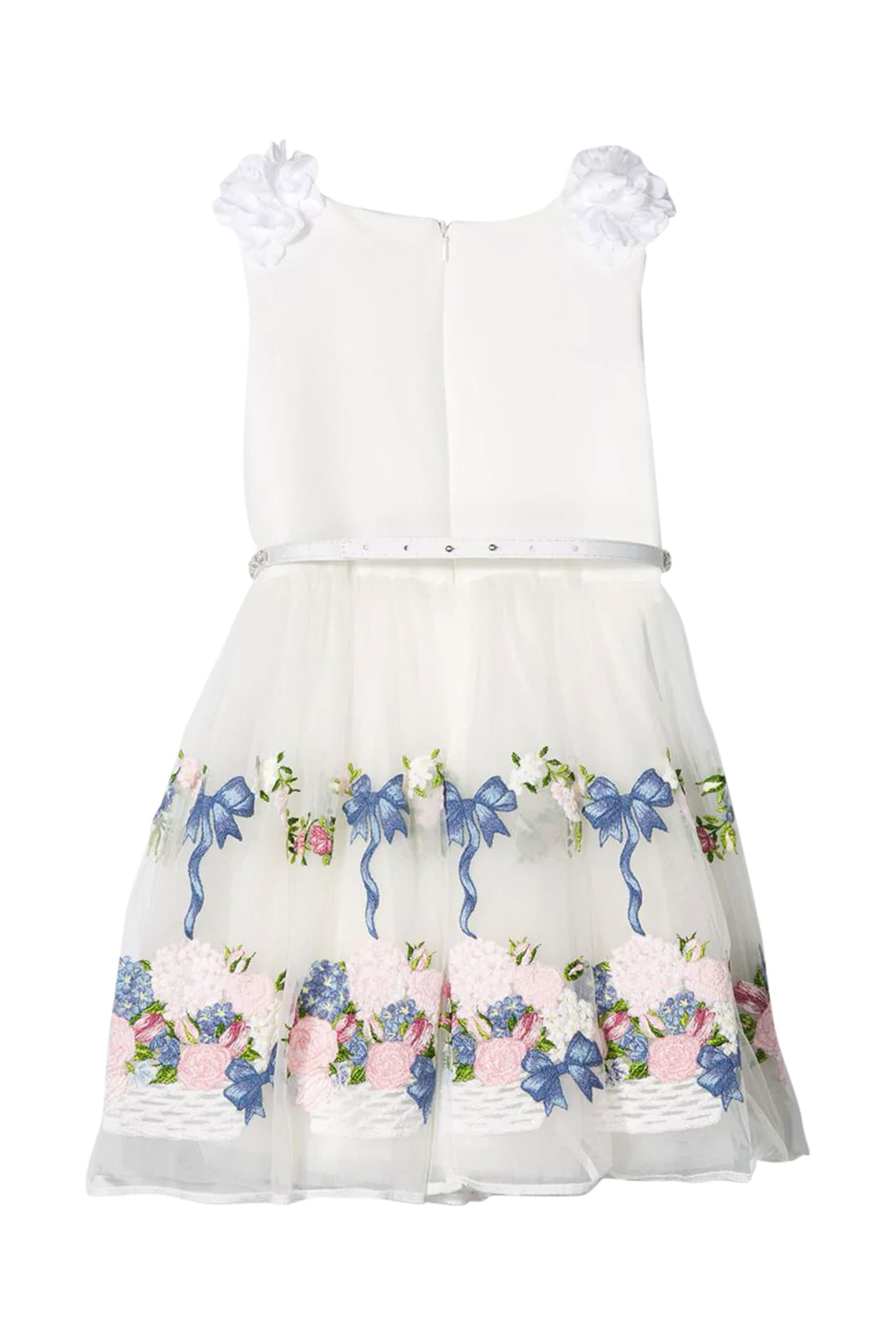 Buy Monnalisa Dress With Flower Skirt online, shop Monnalisa with free shipping